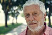 senior gray bearded man posing in the park, having a relaxed look