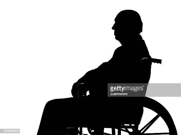 Senior man in wheelchair silhouette