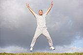 Senior Man Jumping In The Air
