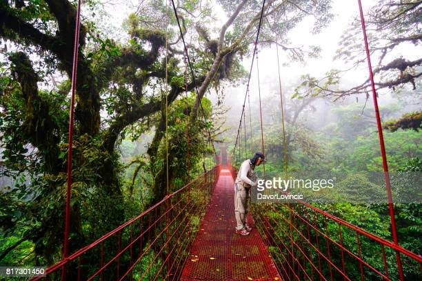 Senior man looking from suspension bridge in Monteverde Cloud forest , Costa Rica