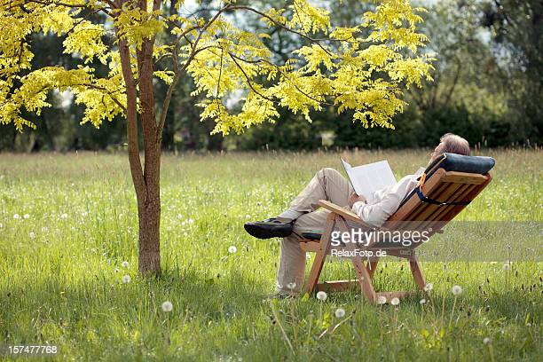 Senior Man on deck chair under tree reading book (XXXL)