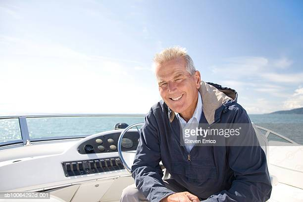 Senior man on yacht, portrait