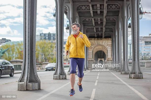 Senior man out for a run in Paris