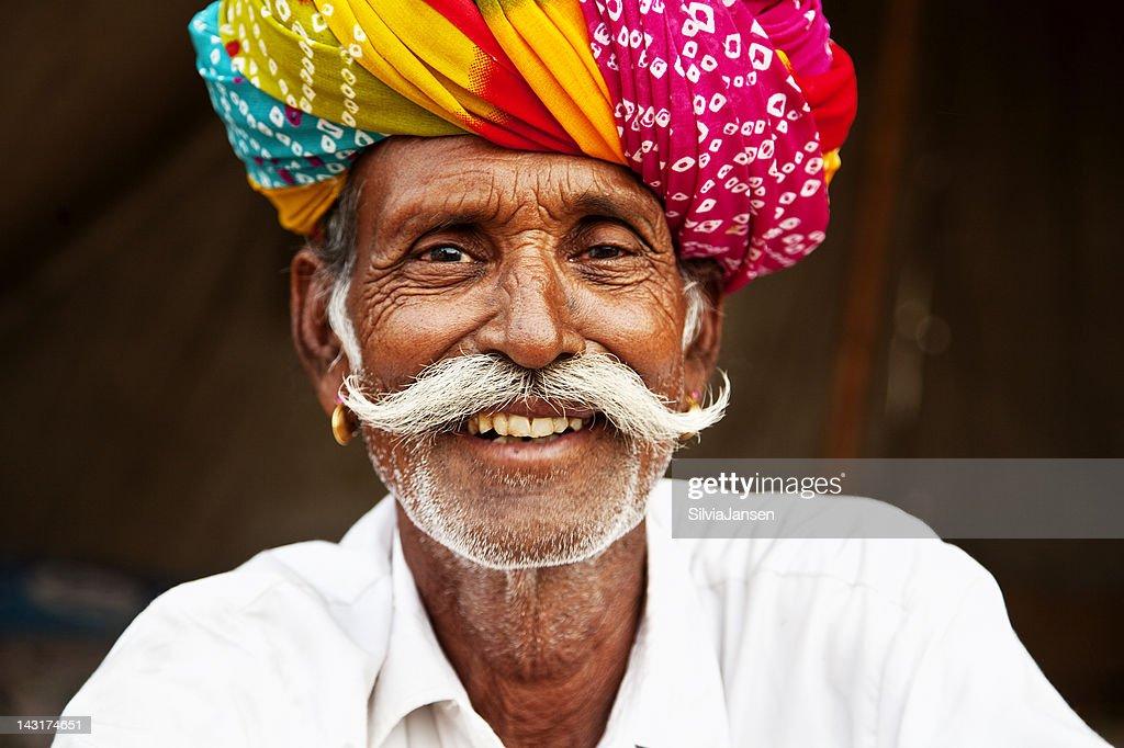 senior man portrait in Pushkar, India : Stock Photo