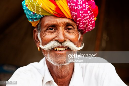 senior man portrait in Pushkar, India : Stock Photo