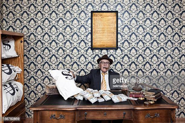 Senior man posing with US constitution, gavel and money bags