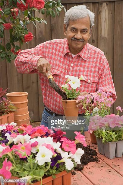 Senior man potting plants in backyard