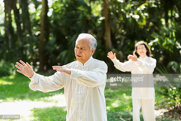 Senior man practicing tai chi
