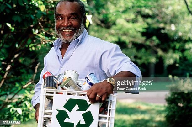Senior Man Recycling