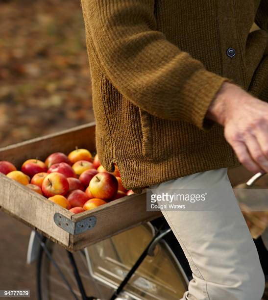 Senior man riding bike with tray of apples.