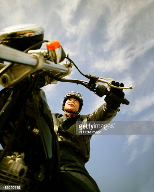 Senior Man Riding Motorcycle