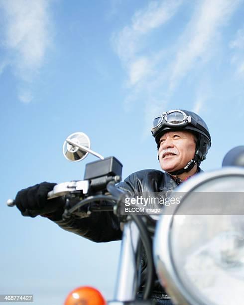 Senior Man Riding Motorcycle