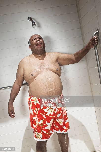 Senior Man Singing in the Shower