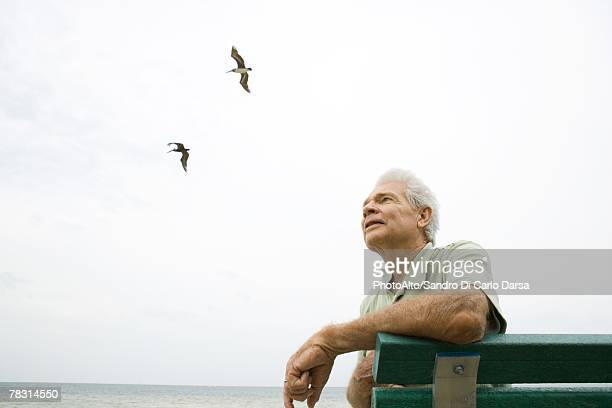 Senior man sitting on bench at beach, looking up, smiling