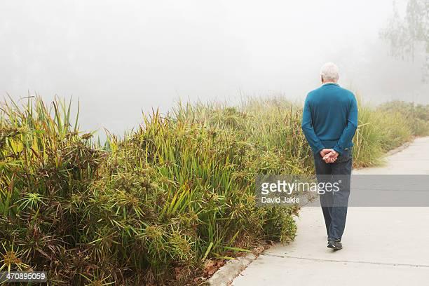 Senior man strolling in the park
