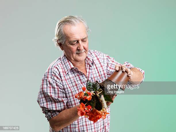 Senior man taking flower from pot