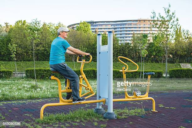 Senior man training in the park