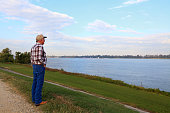 Senior Man Viewing Mississippi River