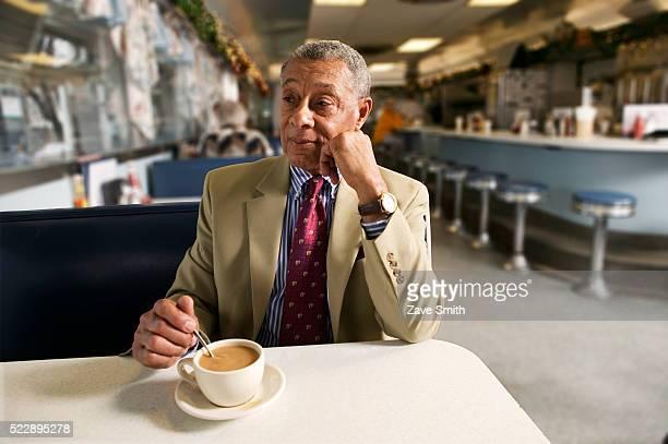 Senior Man Waiting in a Diner
