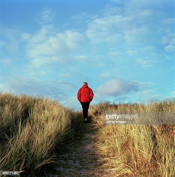 Senior man walking through path