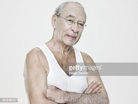 Senior man wearing a vest