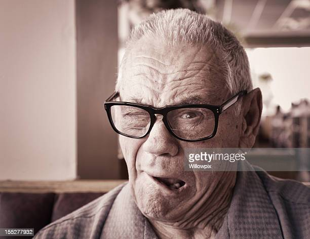 Senior Man Winking