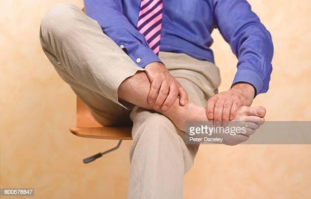 Senior man with gout