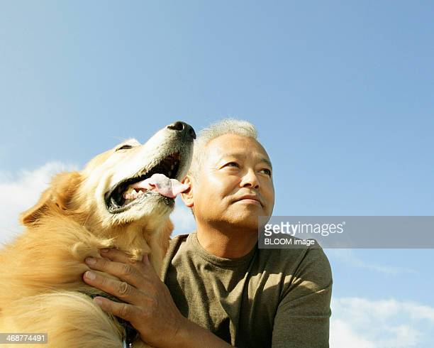 Senior Man With His Pet Dog
