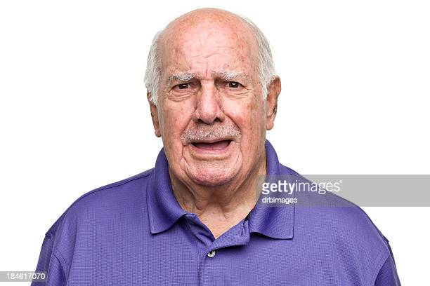 Senior Man With Mouth Open