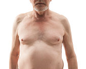 Naked senior man with naked torso isolated on white background. Bare-chested elderly man. Naked breasts and nipples elderly man.