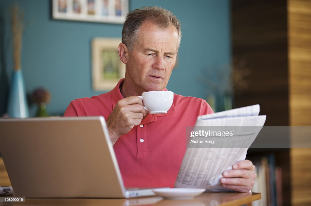 Senior man working from home : Stock Photo