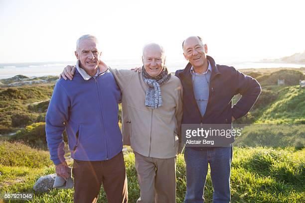 Senior men together outdoors