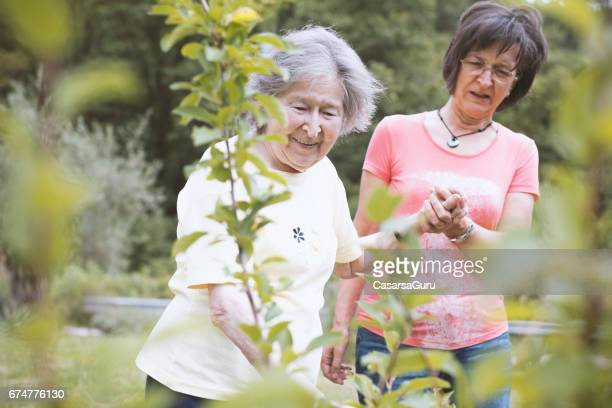 Senior Mother And Adult Daughter Enjoy In The Beauty Of The Back Yard