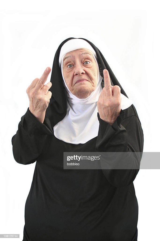 Senior Nun Giving Two Middle Finger Gestures, Isolated on White : Stock Photo