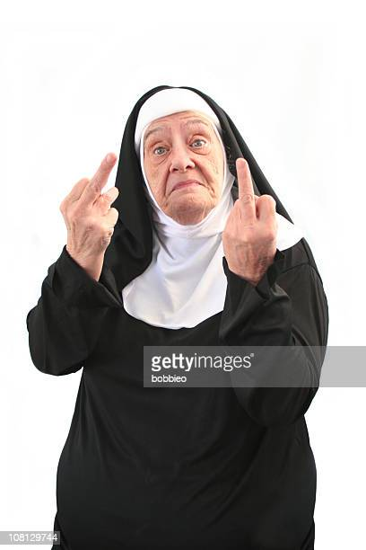 Senior Nun Giving Two Middle Finger Gestures, Isolated on White