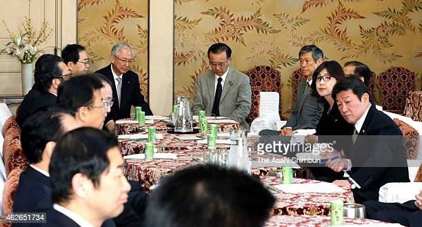 Senior officials of the ruling Liberal Democratic Party and junior coalition Komeito's meeting on hostage crisis are held at diet building on...