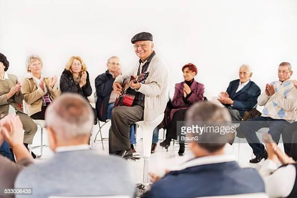 Senior people on social gathering.
