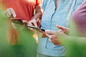 Senior people using smart phone in nature