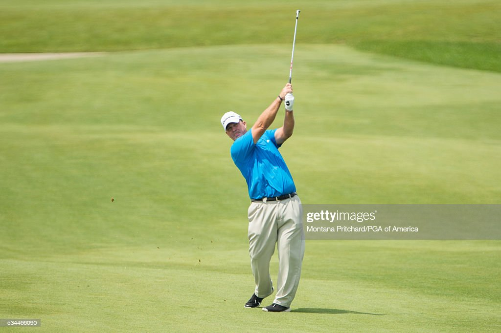 Senior PGA Club Professional, Barry Cheesman hits his shot on the ninth hole during the first round for the 77th Senior PGA Championship presented by KitchenAid held at Harbor Shores Golf Club on May 26, 2016 in Benton Harbor, Michigan.