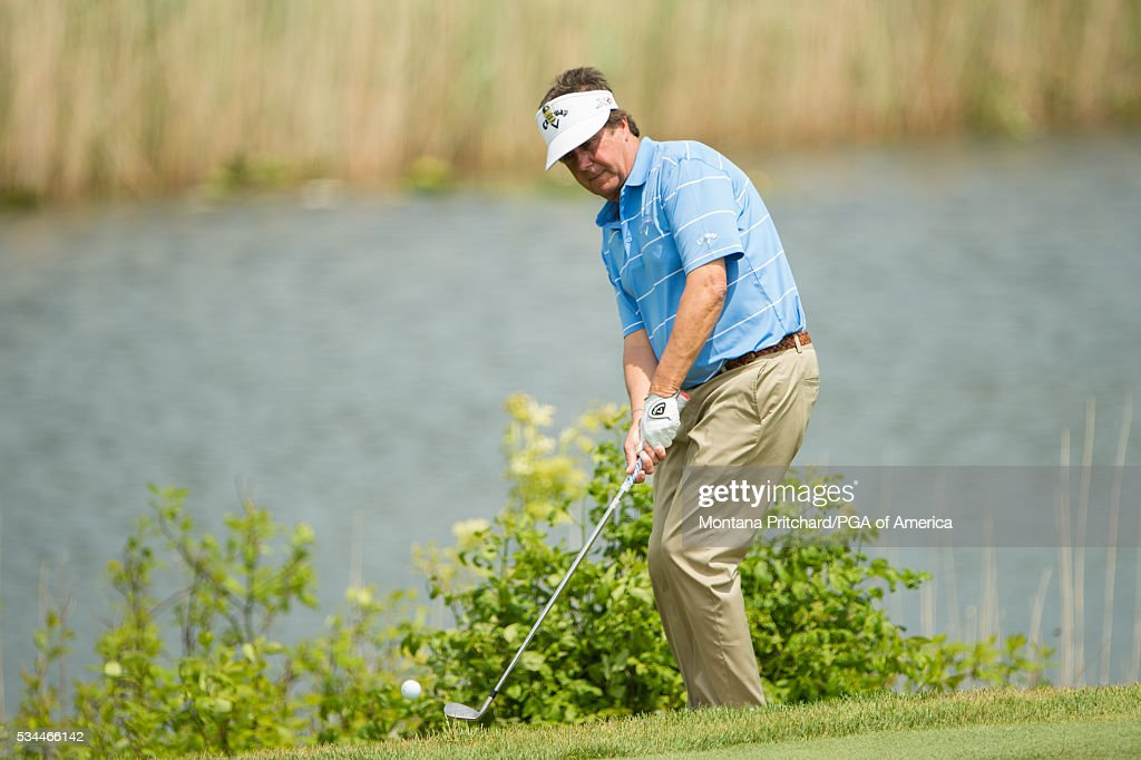 Senior PGA Club Professional, George Forster chips onto the green on the ninth hole during the first round for the 77th Senior PGA Championship presented by KitchenAid held at Harbor Shores Golf Club on May 26, 2016 in Benton Harbor, Michigan.