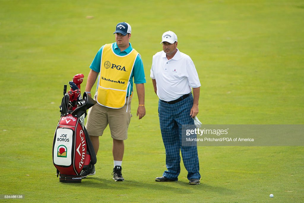 Senior PGA Club Professional, Joe Boros and his caddie on the seventh hole during the first round for the 77th Senior PGA Championship presented by KitchenAid held at Harbor Shores Golf Club on May 26, 2016 in Benton Harbor, Michigan.