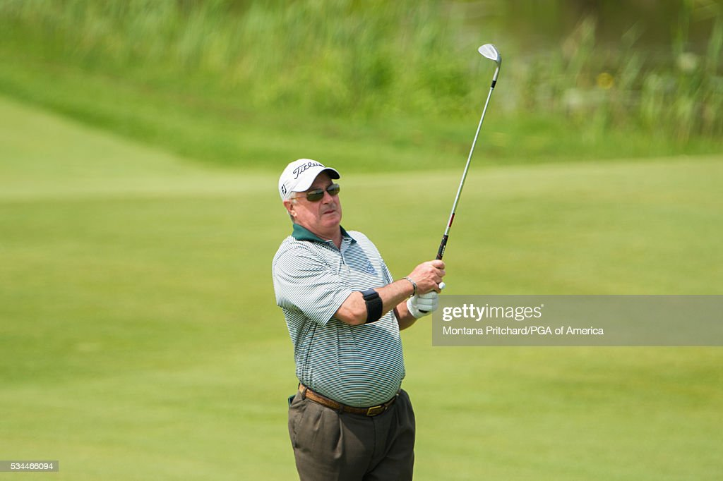 Senior PGA Club Professional, Rick Lewallen watches his shot on the ninth hole during the first round for the 77th Senior PGA Championship presented by KitchenAid held at Harbor Shores Golf Club on May 26, 2016 in Benton Harbor, Michigan.