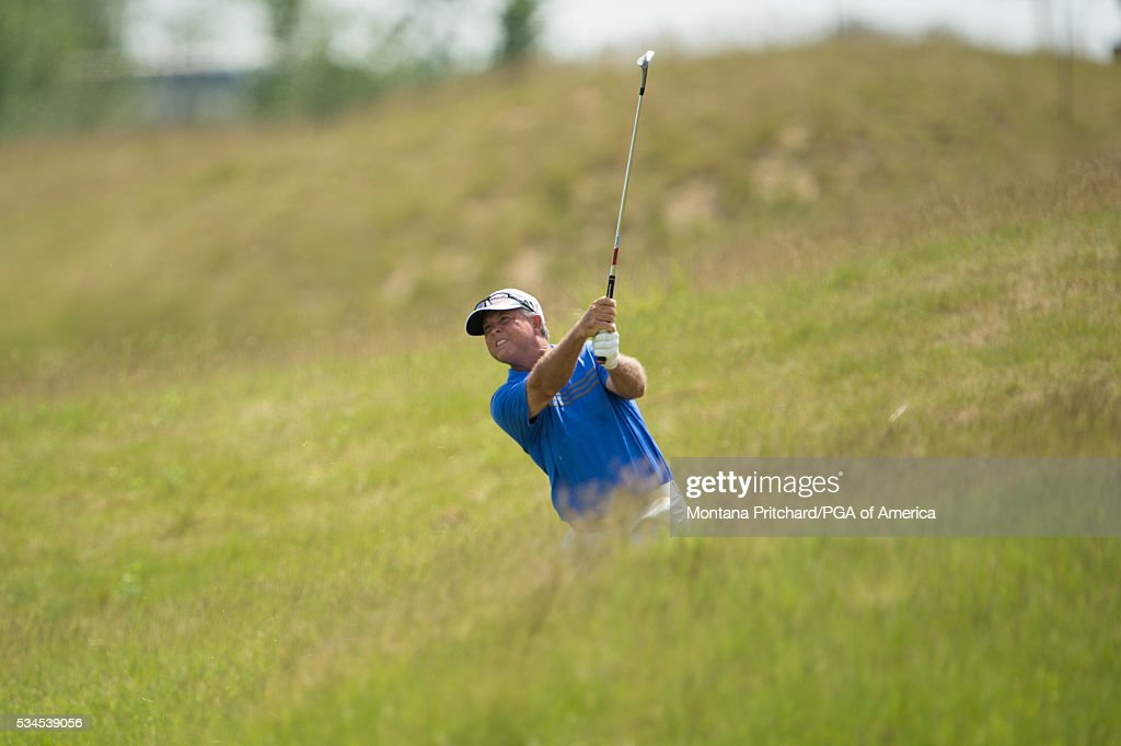 Senior PGA Club Professional, Sonny Skinner hits his second shot on the fifth hole during the first round for the 77th Senior PGA Championship presented by KitchenAid held at Harbor Shores Golf Club on May 26, 2016 in Benton Harbor, Michigan.