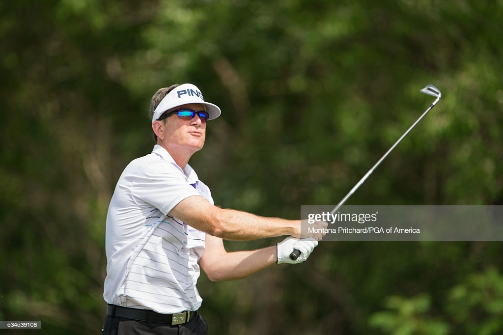 Senior PGA Club Professional, Walt Chapman hits his tee shot on the fourth hole during the first round for the 77th Senior PGA Championship presented by KitchenAid held at Harbor Shores Golf Club on May 26, 2016 in Benton Harbor, Michigan.