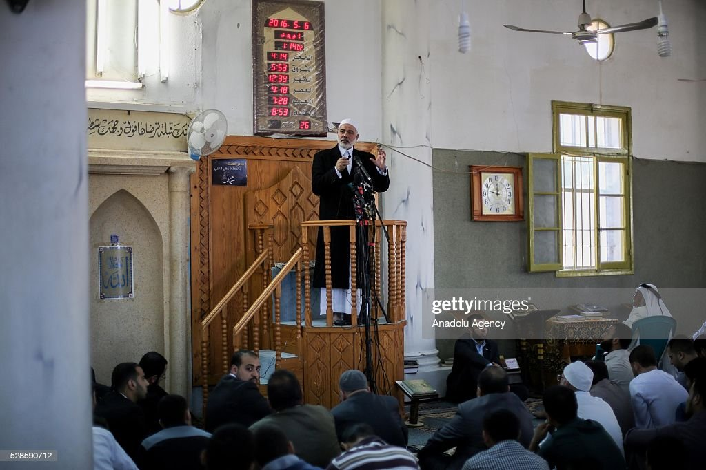 Senior Political Leader of Hamas Ismail Haniyeh conducts Friday's Khutbah at Abu Salim mosque in Deir al-Balah district of Gaza City, Gaza on May 6, 2016.