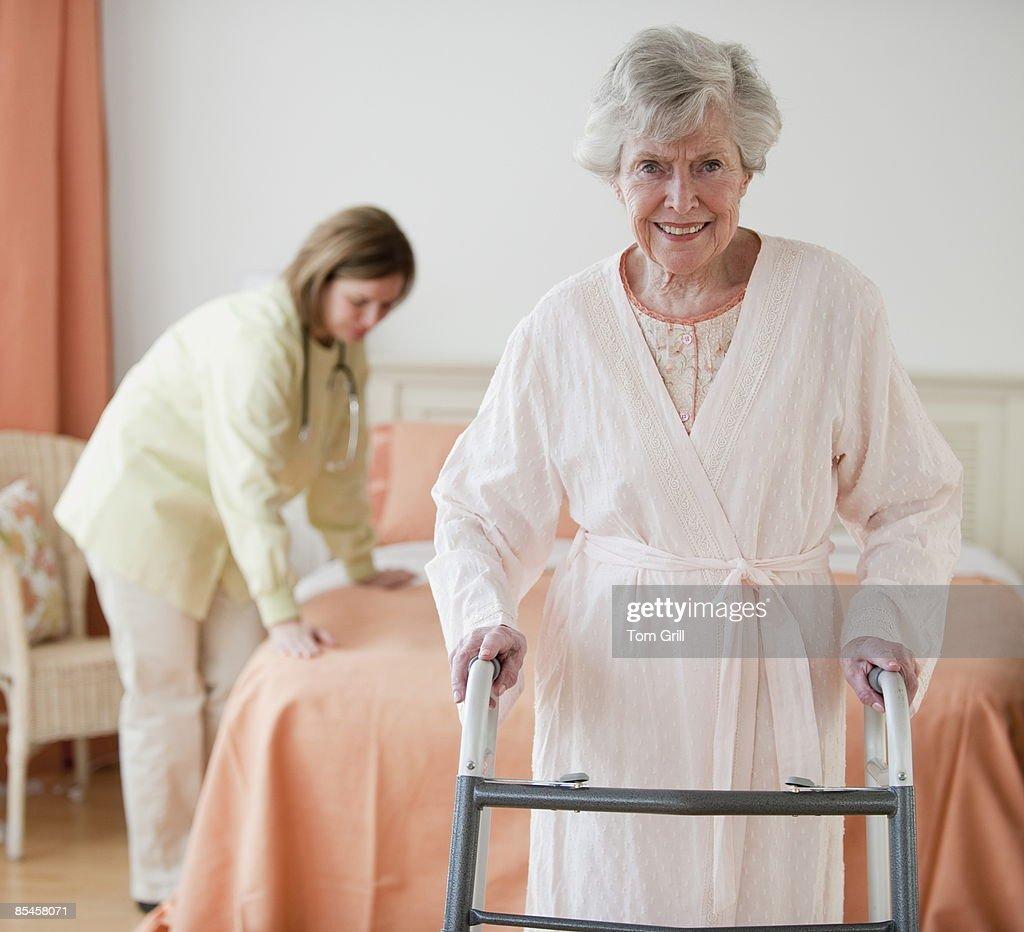 Senior portrait with healthcare worker : Stock Photo
