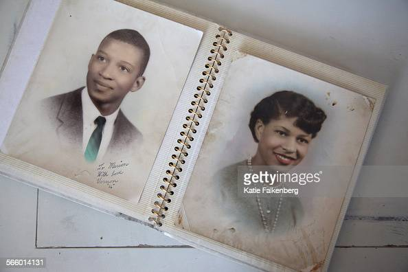 Senior portraits of Vernon and Marion Watkins taken in 1956 sit in a photo album in the Watkins' home in Rancho Cucamonga Vern Watkins' life was...