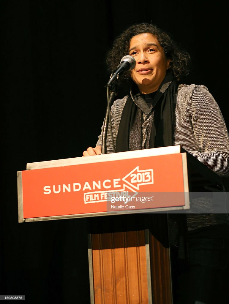 Senior Programmer Sundance Film Festival & New Frontier at Sundance Shari Frilot speaks onstage during the '99% - The Occupy Wall Street Collaborative Film' premiere at Egyptian Theatre during the 2013 Sundance Film Festival on January 20, 2013 in Park City, Utah.