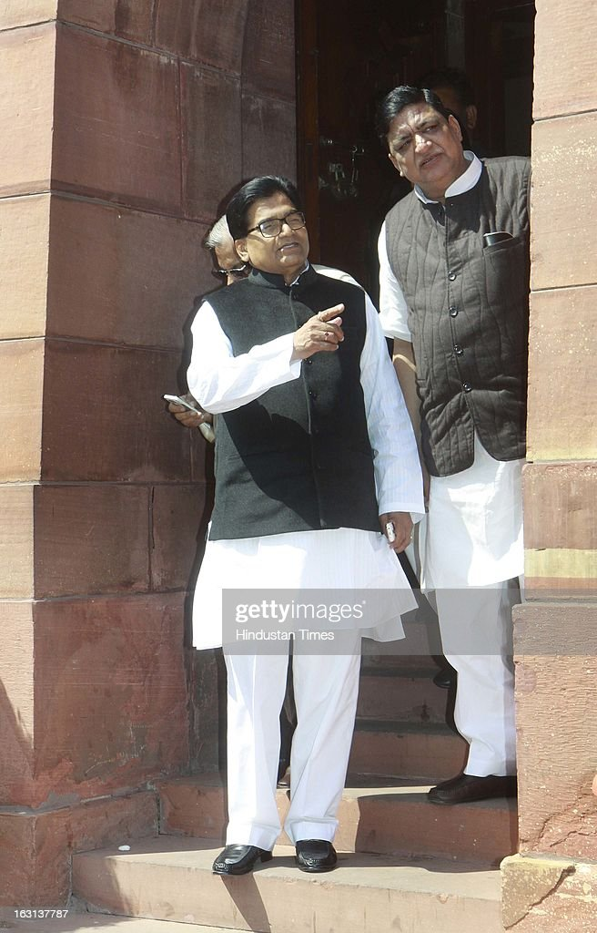 Senior Samajwadi Party leader and member of parliament Ram Gopal Yadav and Naresh agarwal leader Samajvadi party and member of parliament after attending ongoing parliament budget session on March 5, 2013 in New Delhi, India. Both houses of Parliament were adjourned till noon after opposition parties raised various issues including the killing of a police officer in Uttar Pradesh.