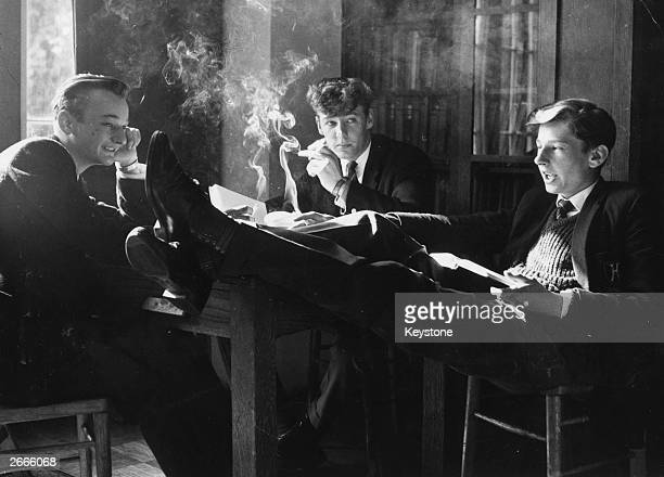 Senior schoolboys enjoying a cigarette in the smoking room at Highfields Grammar School near Wakefield Yorkshire where fifth and sixth formers are...